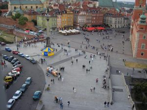 I start out with a scene like this Warsaw public square in my mind. I need to find the place or person to home in on. I zoom in, zoom back out, zoom in again from another angle—this goes on, and on...