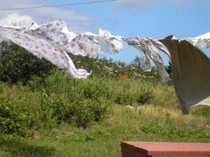 Wind on an ordinary day in Cape Breton, where we often spend time in the summer, necessitates a sturdy clothes peg and solid technique. I have had to run after my sheets more than once.