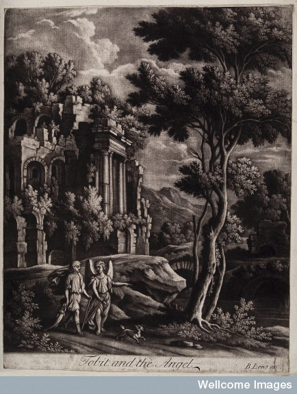 V0034456 Tobias and the angel stroll through a classical landscape. M